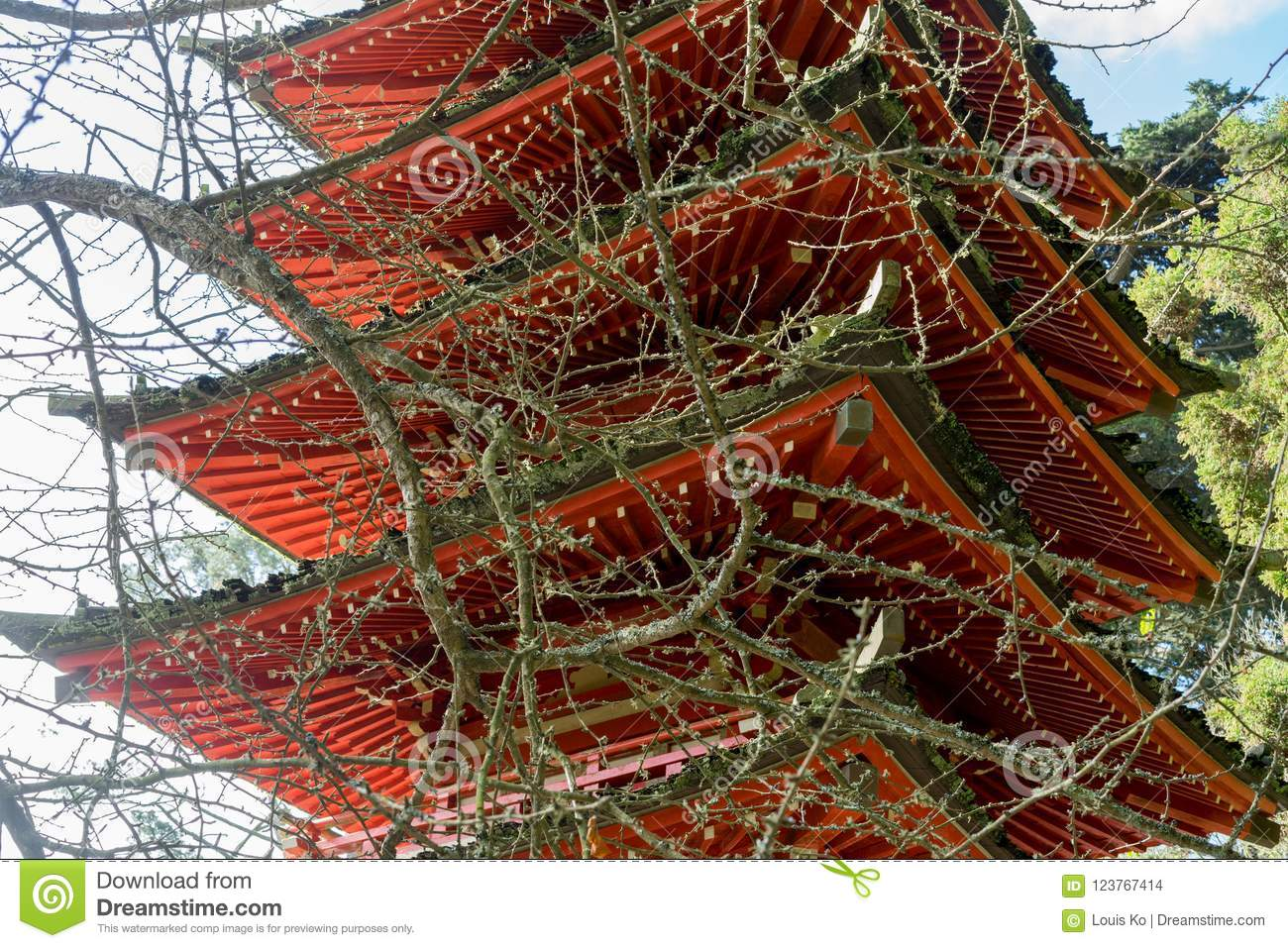 Japanese Temple In Japanese Tea Garden Editorial Stock Image - Image ...
