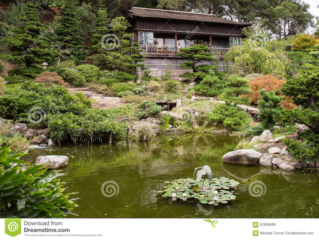 Japanese Tea Garden House And Pond Editorial Photo Image
