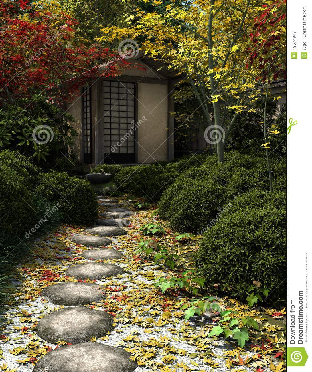 Japanese tea house and garden stock illustration image for Japanese house garden