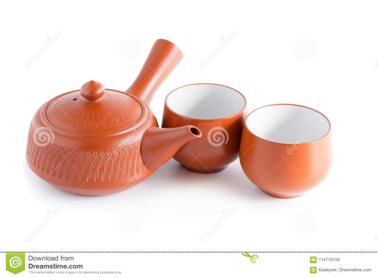 Japanese Tea Set Ceramic Teapot And A Steaming Cup Isolated On Stock Image Image Of Beverage Kettle 114710159