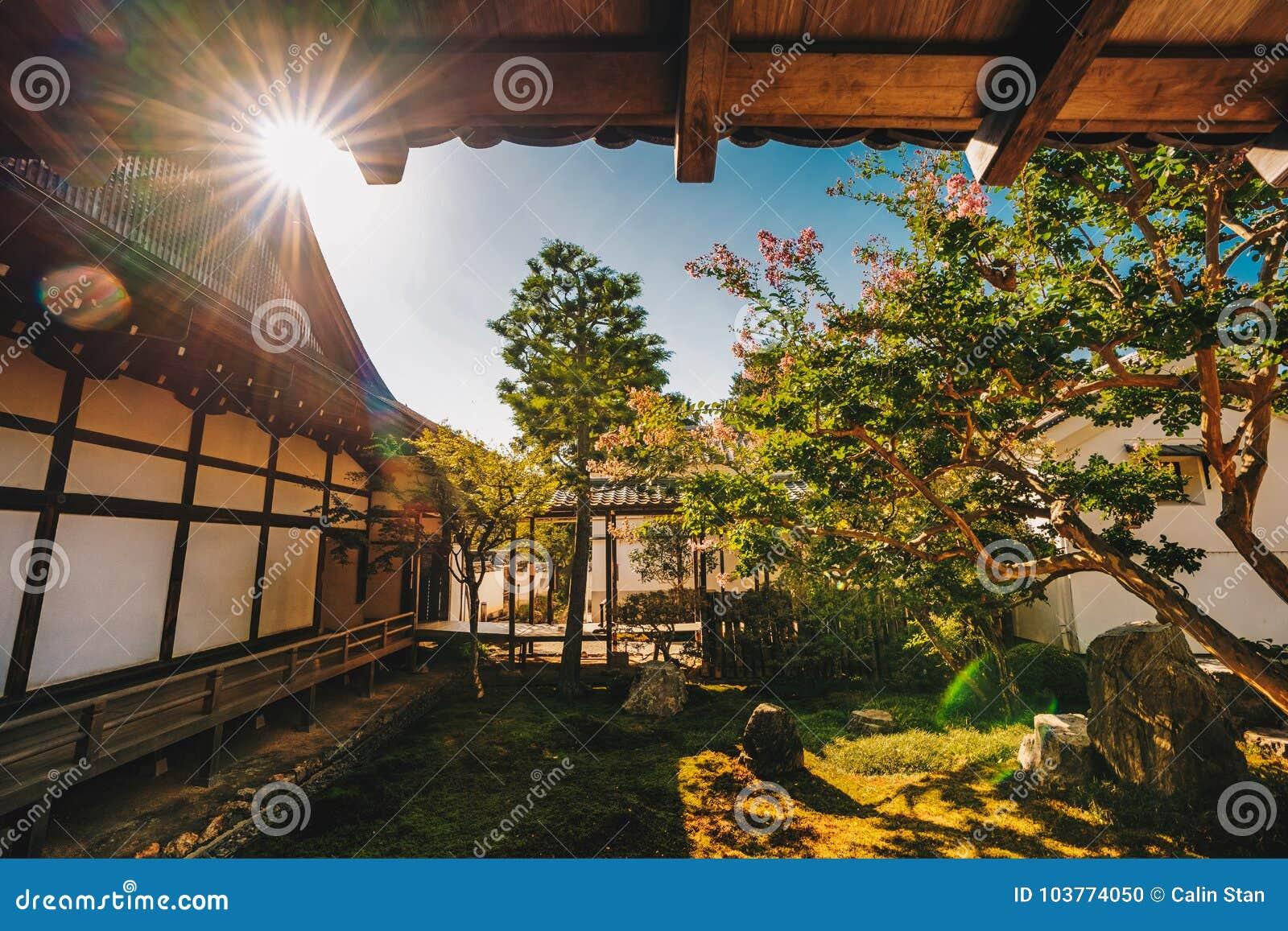 Japanese Temple Zen Garden In Kyoto, Japan. Artistic Interpretat ...