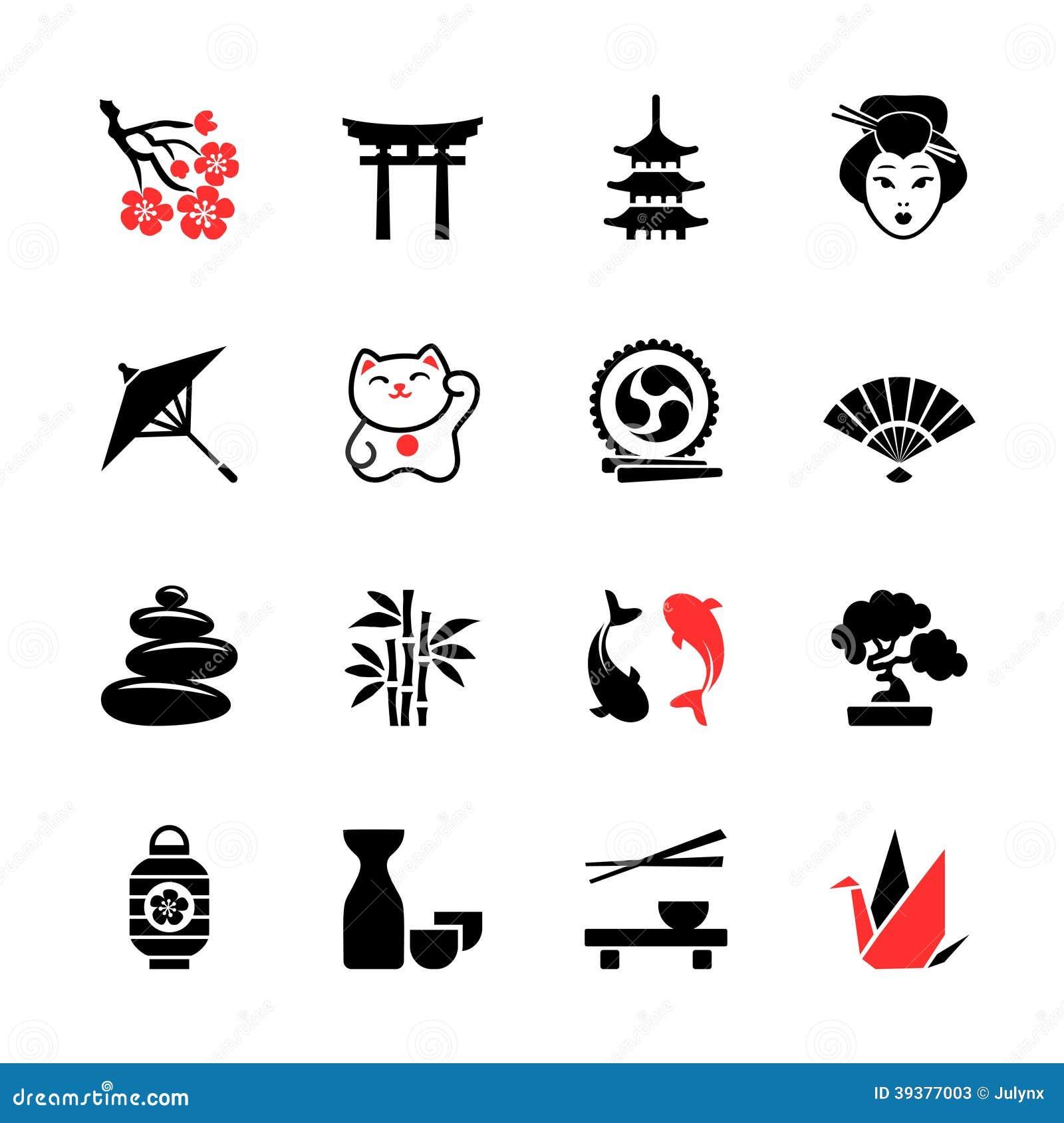 japanese theme icon set stock vector