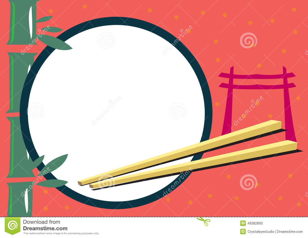 Japanese Themed Frame For Food And Travel Concepts Illustration ...