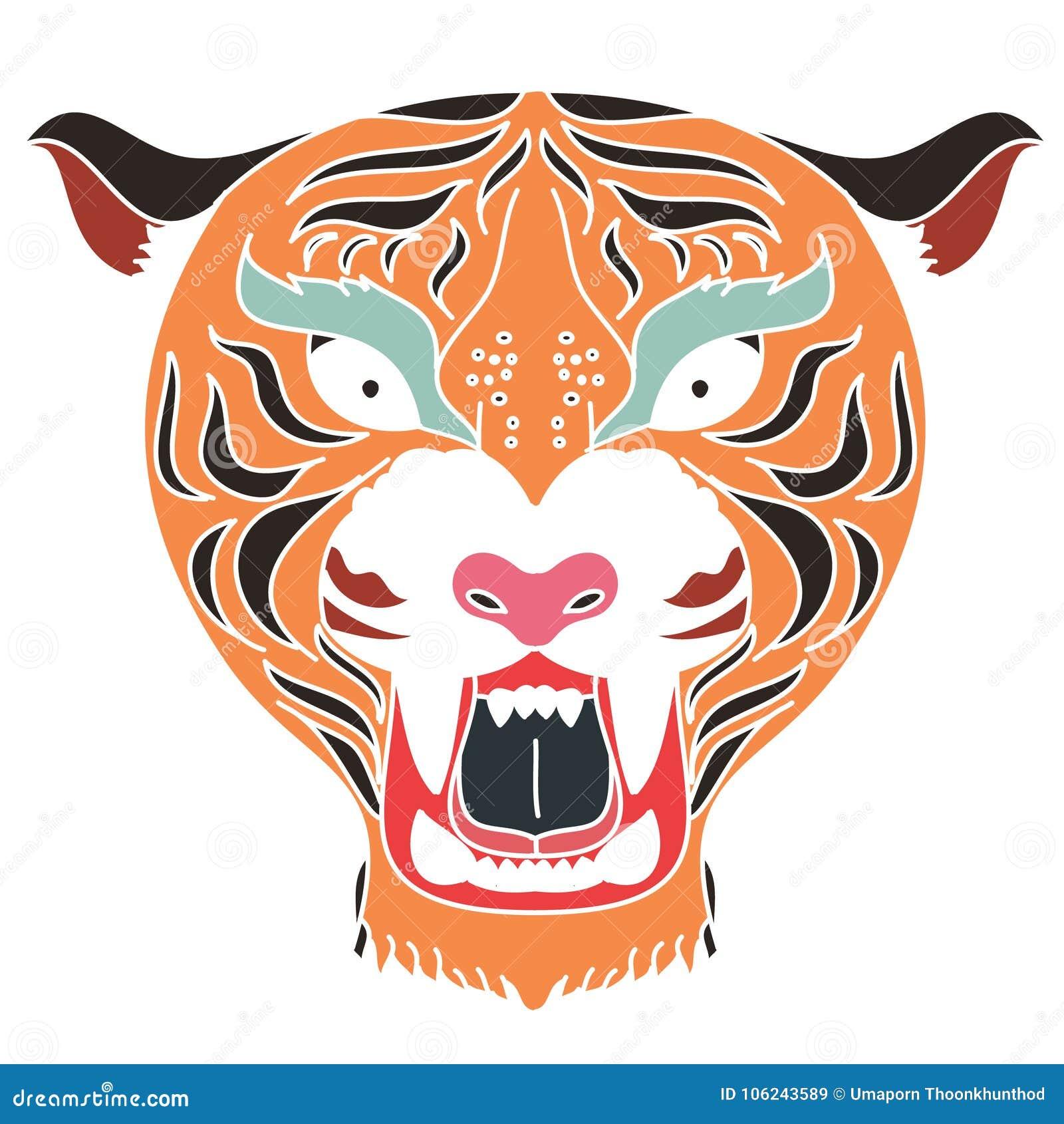 Japanese Tiger Head Tattoo Design Vector For Sticker Stock Vector