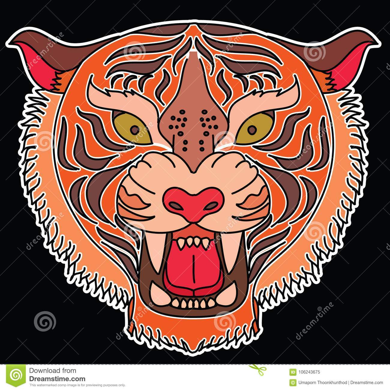 4ffc9b04e Doodle Japanese tiger head vector on black background.Drawing Japanese tiger  head for tattoo or sticker style.
