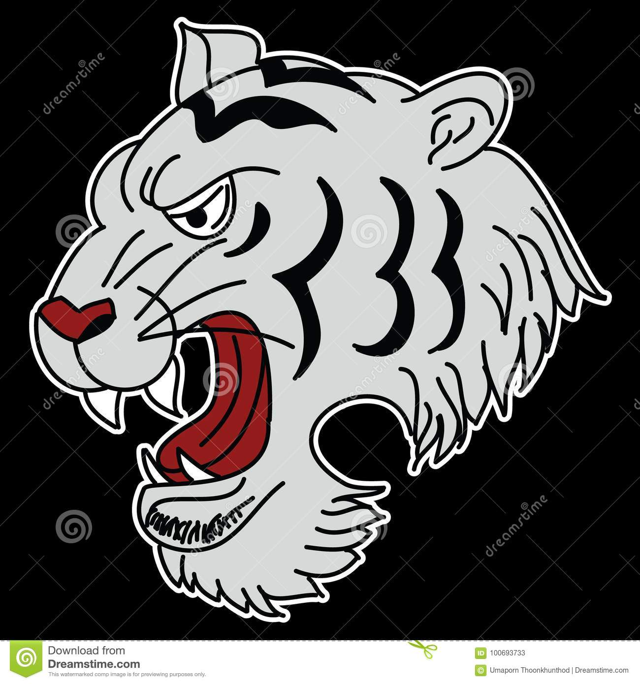 Japanese Tiger Head Tattoo Design Vector For Sticker Stock Vector