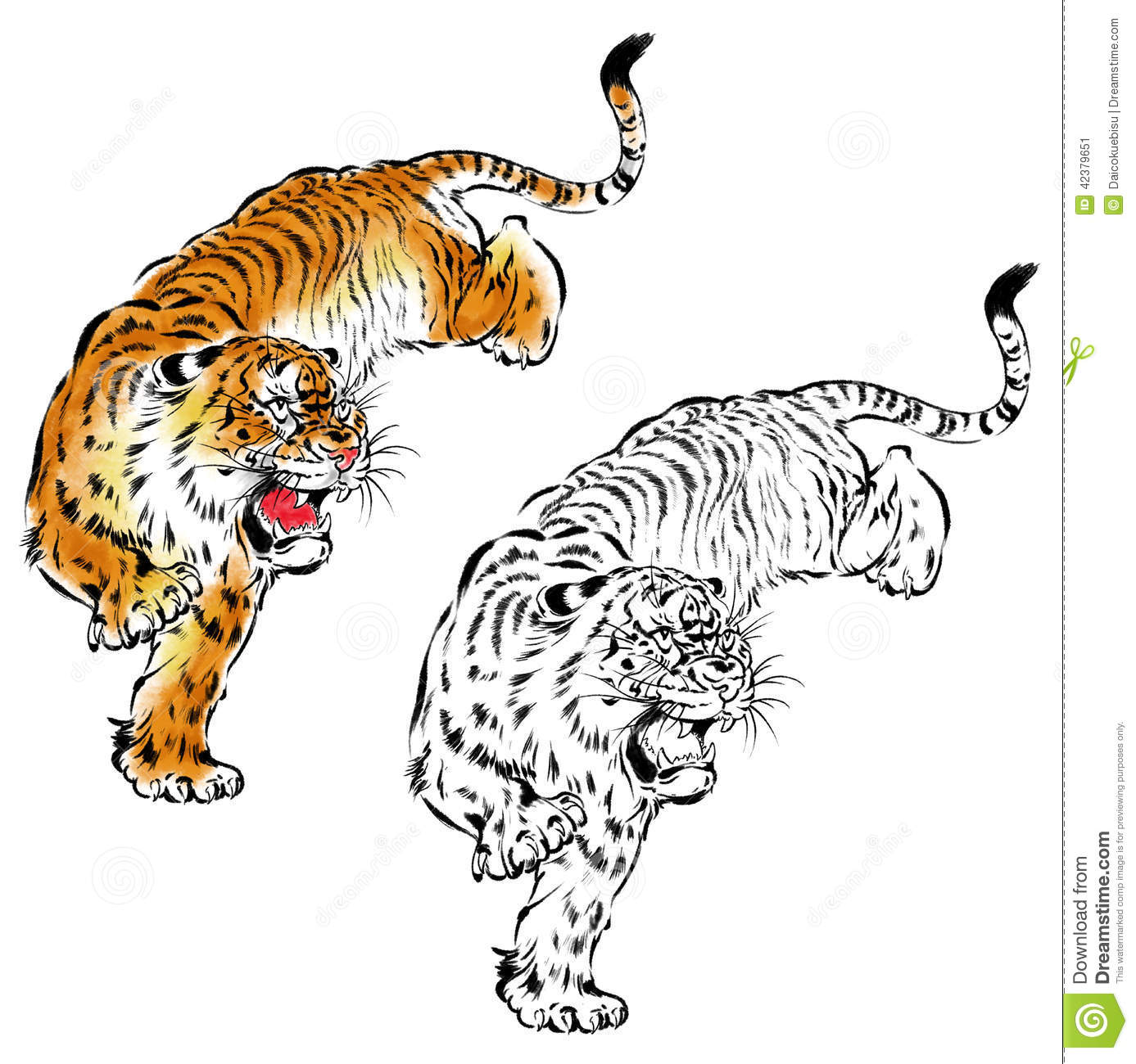 Japanese Tiger Stock Illustration Image 42379651
