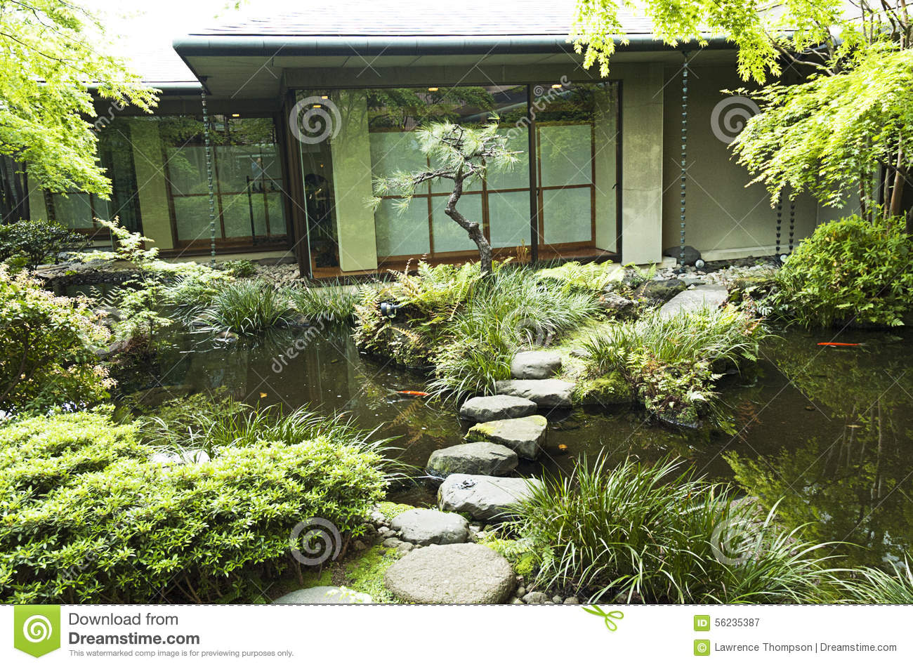 Japanese tokyo tea house with koi pond stock image image for Koi pond in house