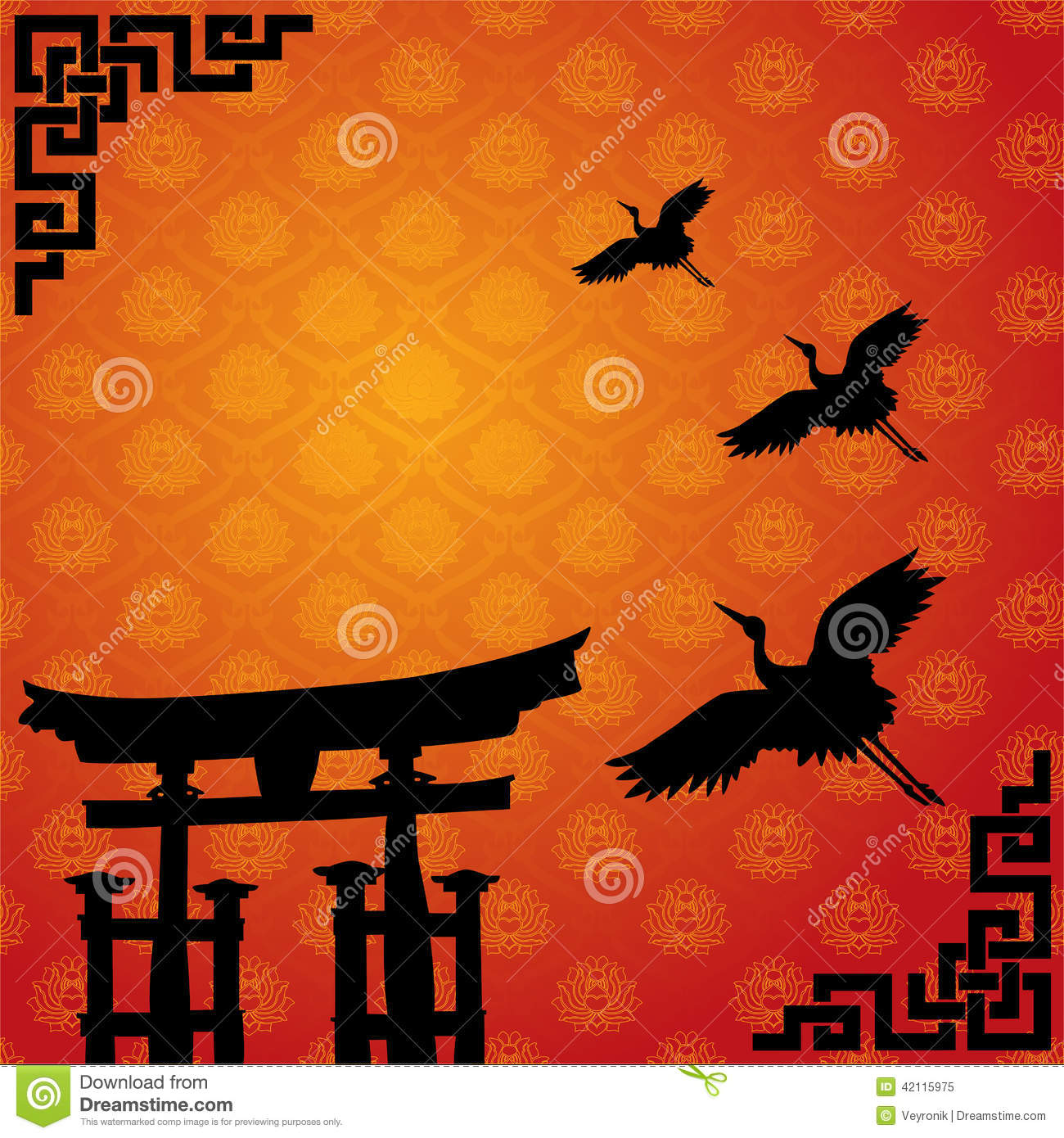 Japanese Torii And Crane Wallpaper Stock Vector Illustration Of