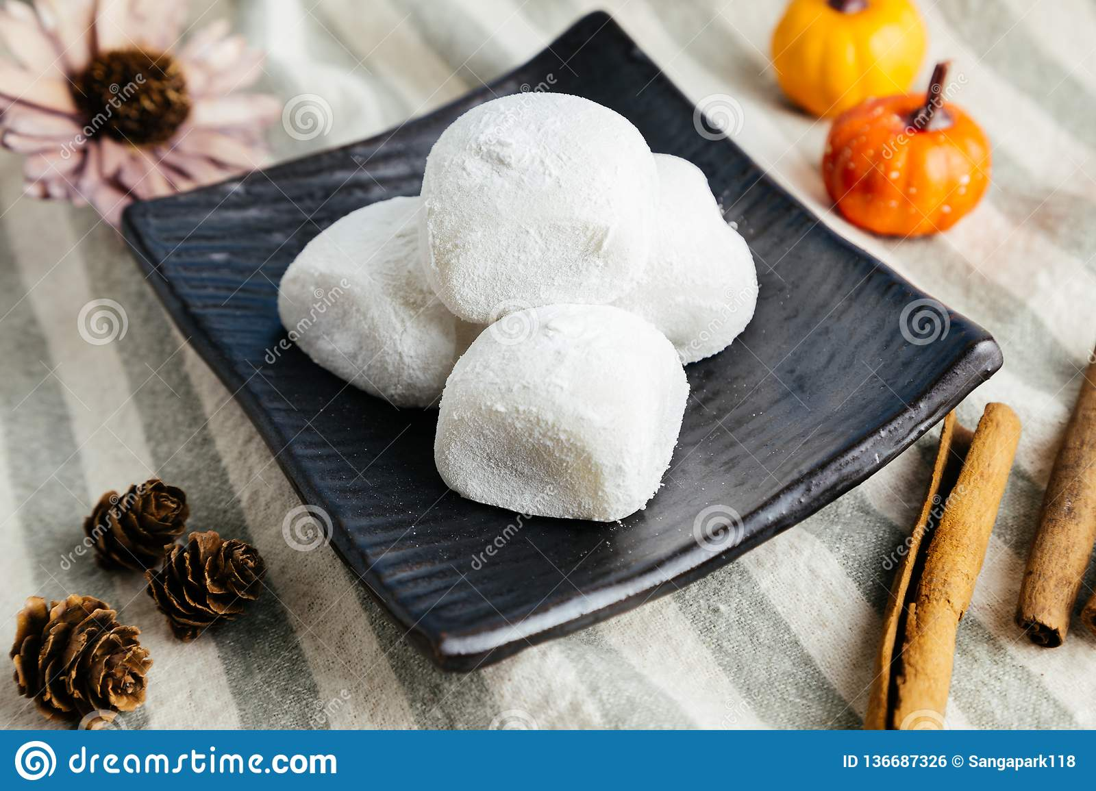 Japanese Traditional Dessert Red Bean Mochi, Sticky Rice