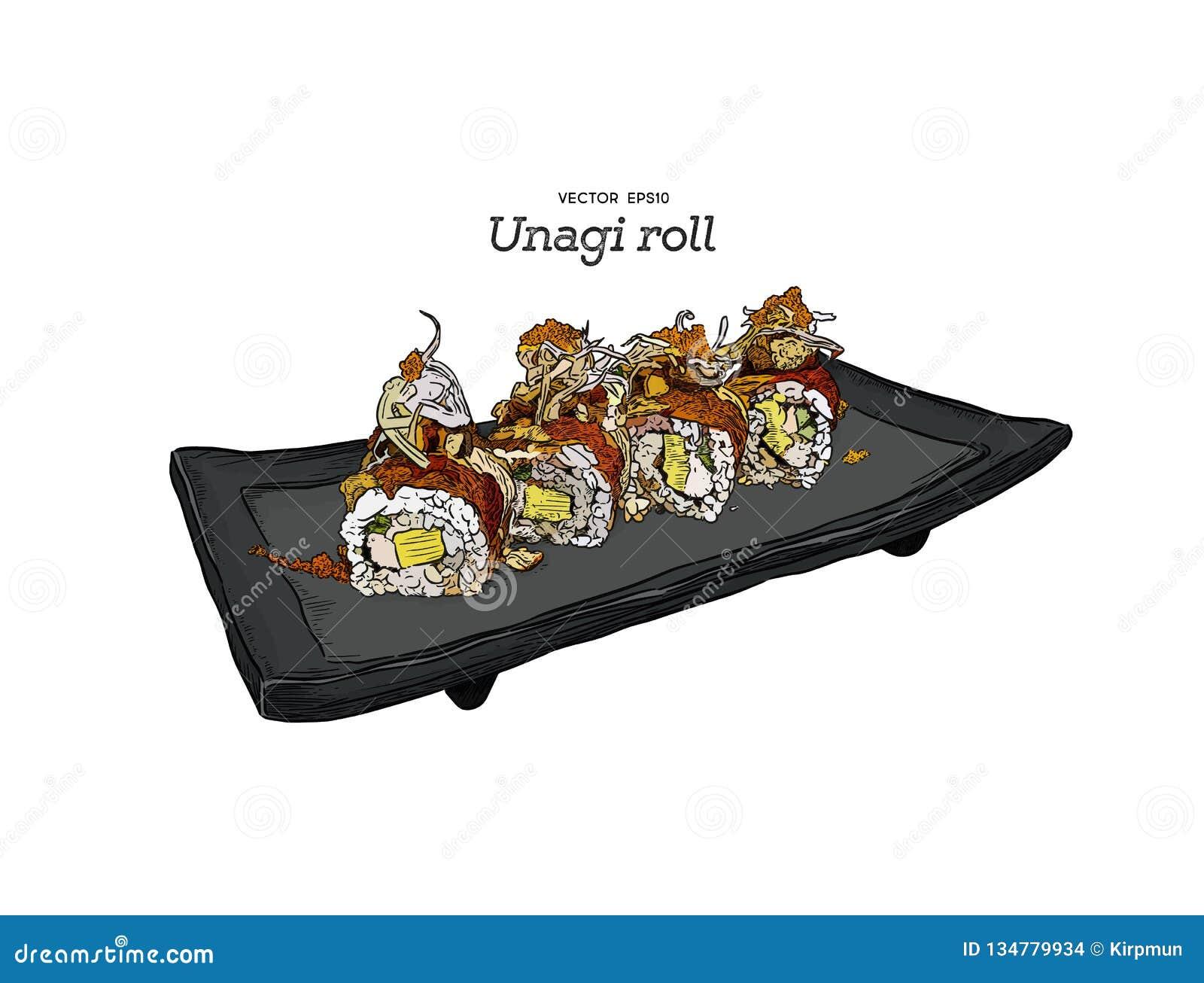 Japanese traditional food, Unagi roll sushi. vector