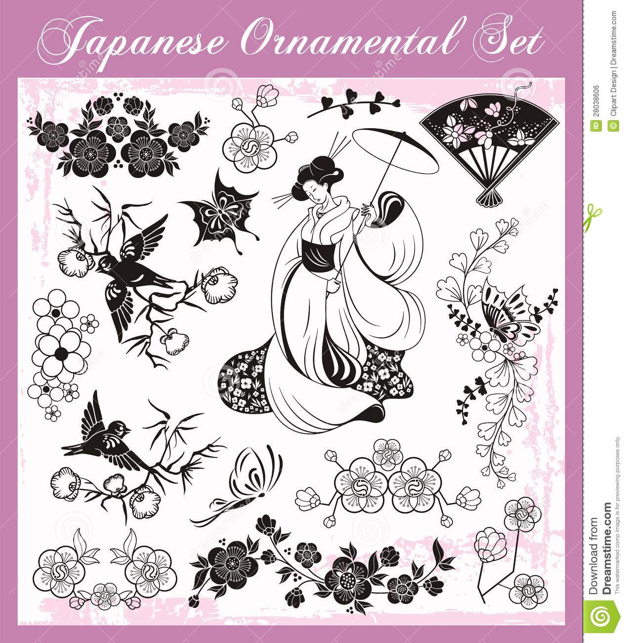Japanese Traditional Ornaments Set Vector Illustration