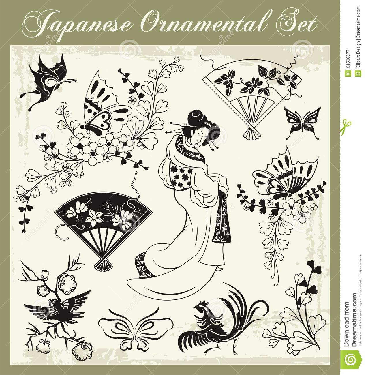 Japanese Traditional Ornaments Set Royalty Free Stock