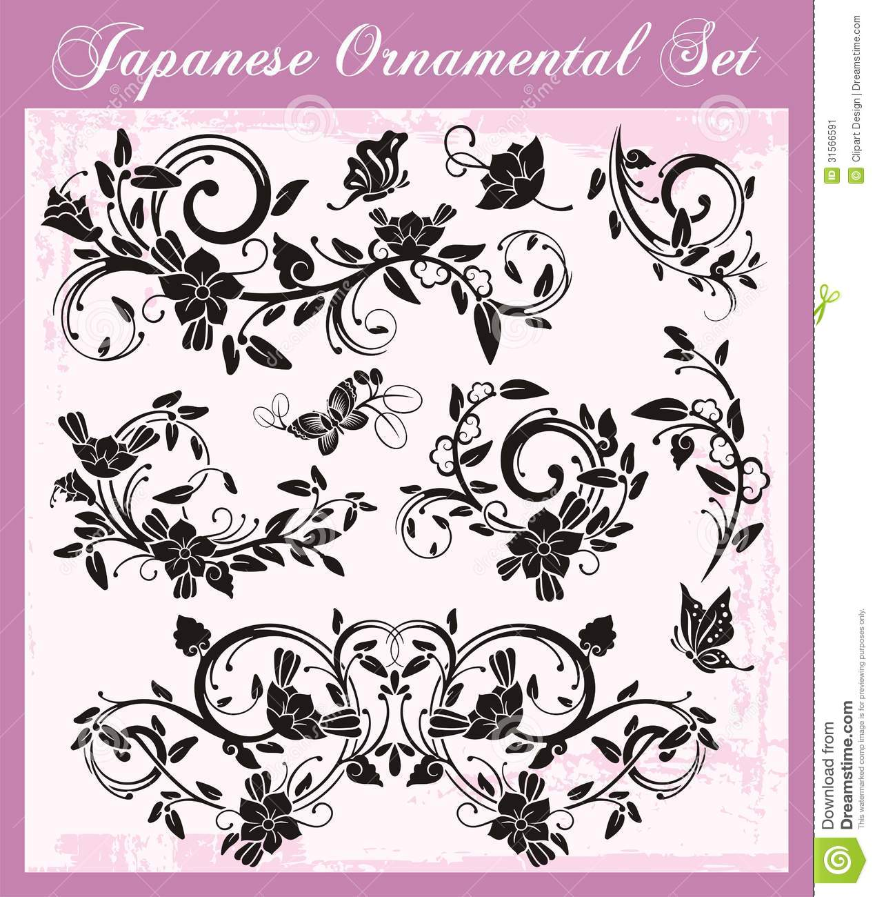 Japanese Traditional Ornaments Set Stock Image Image