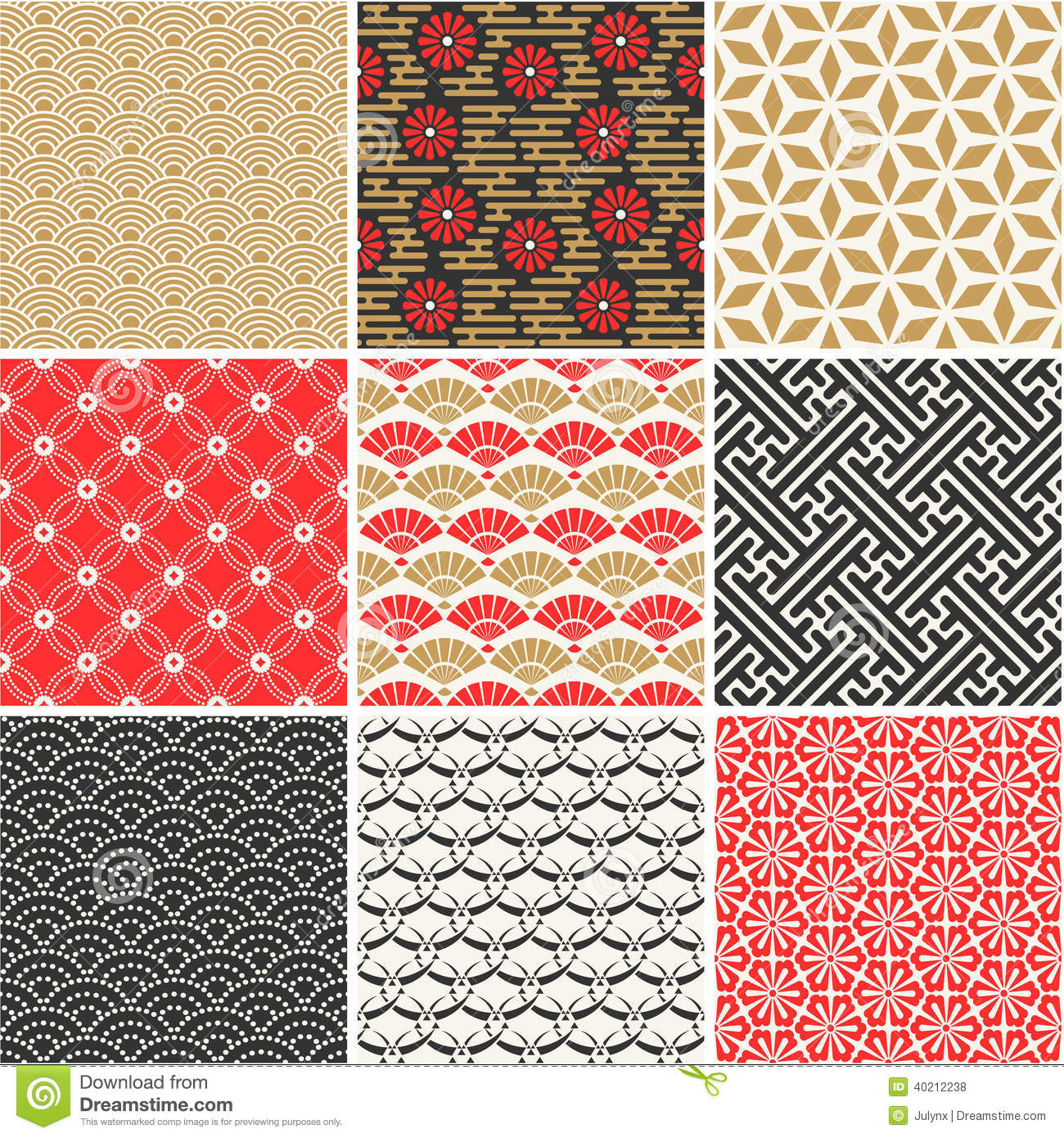 Japanese Vector Seamless Patterns Set Stock Vector - Image: 40212238