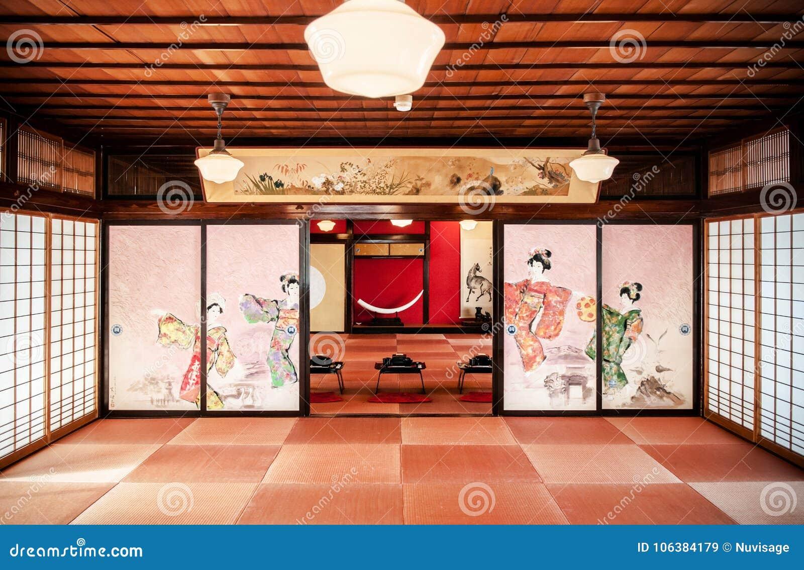 Jan 23 2014 sakata yamagata japan japanese vintage tea room with wall painting and traditional decoration tables and seat pad