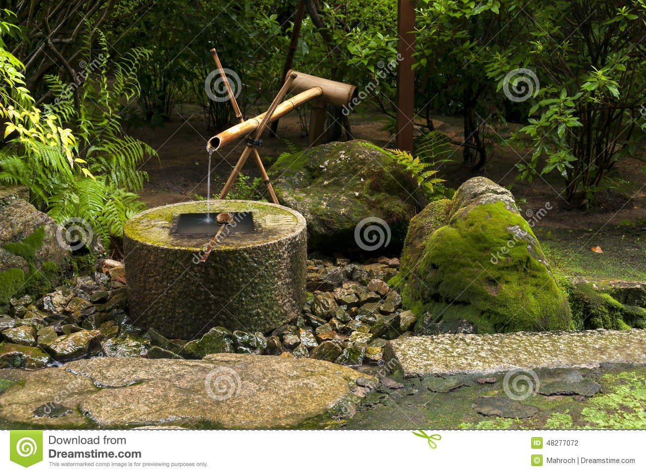 Japanese bamboo water fountain royalty free stock photo for Water in japanese