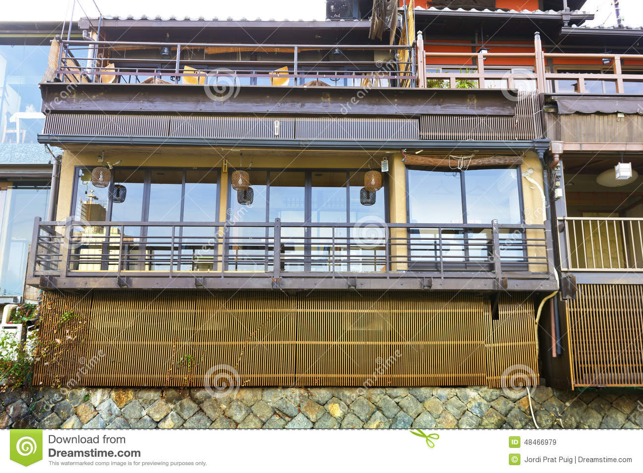 Japanese wood terrace house stock photo image 48466979 for Terrace house japan cast
