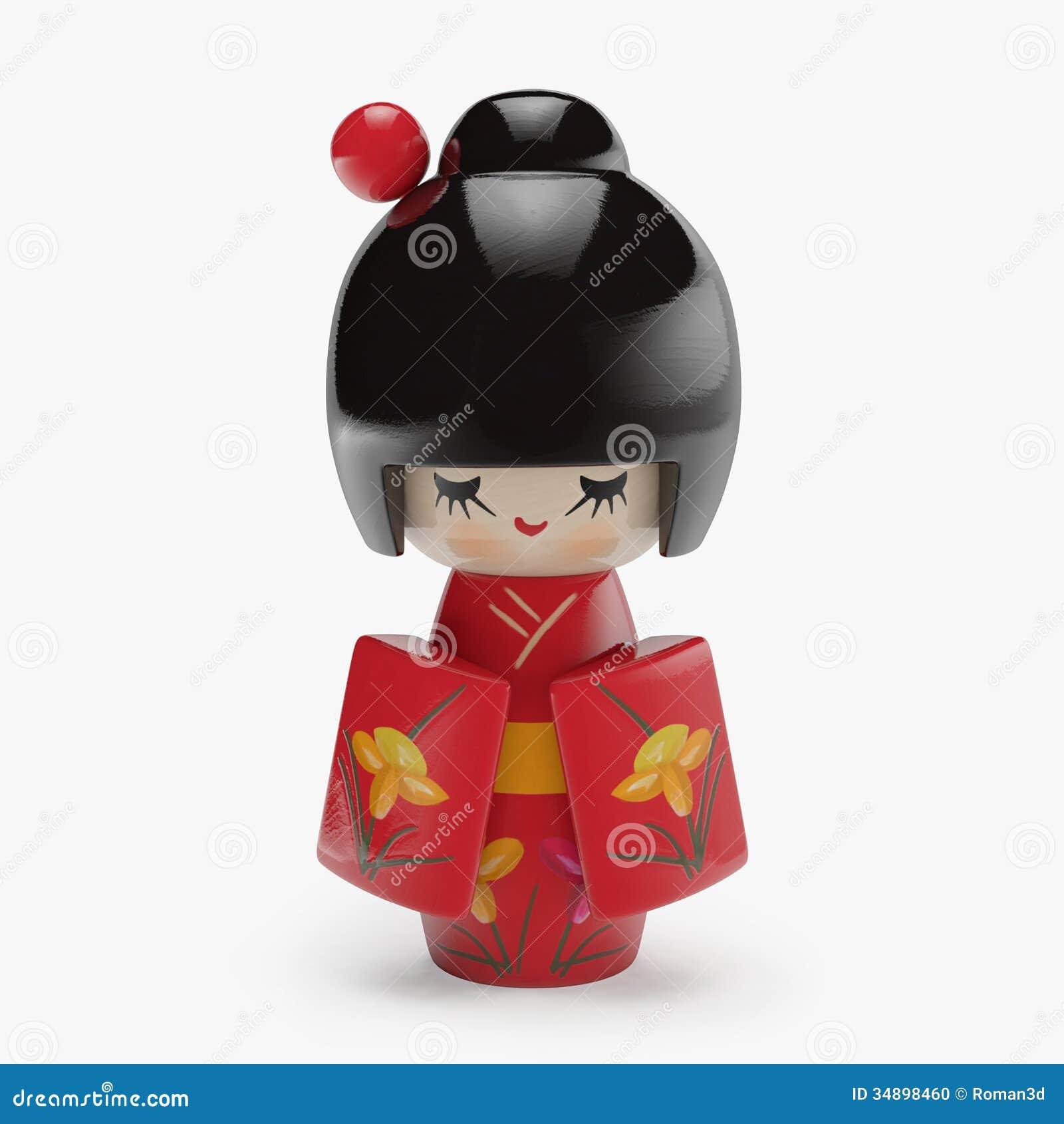 Japanese Wooden Doll Stock Illustration Illustration Of Lovely