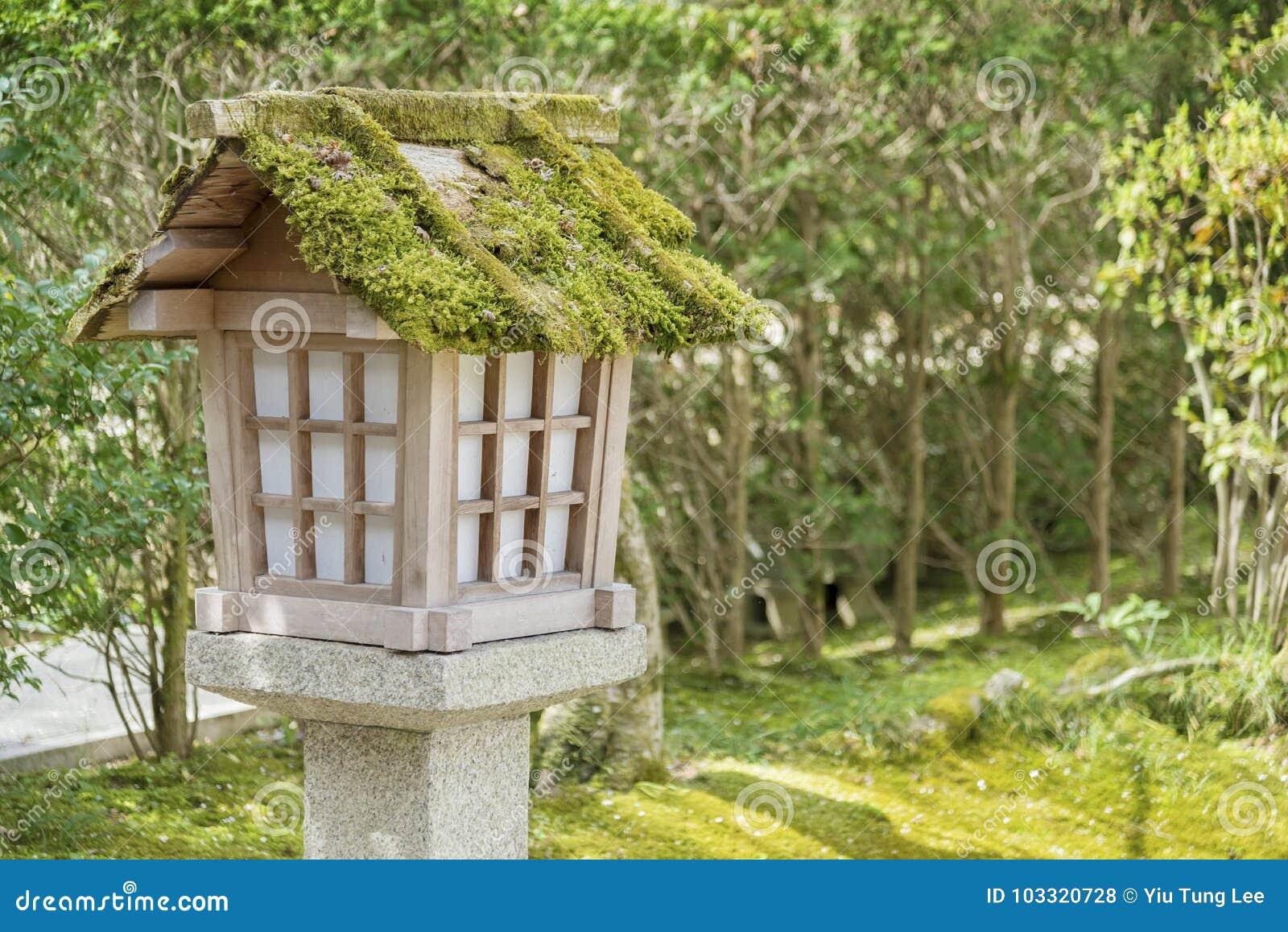 Japanese Wooden Lantern Stock Photo Image Of Plant 103320728