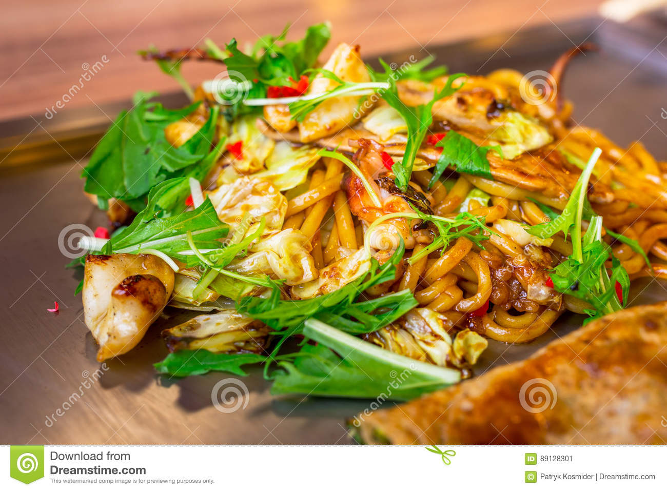 Japanese yakisoba noodles with seafood