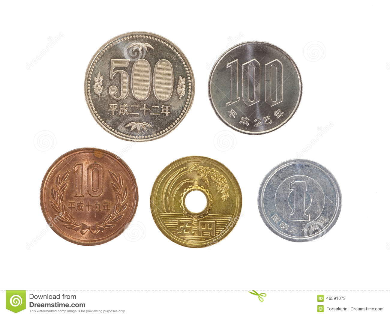 All Type Of Japanese Yen Currency Coin Isolated On White Background