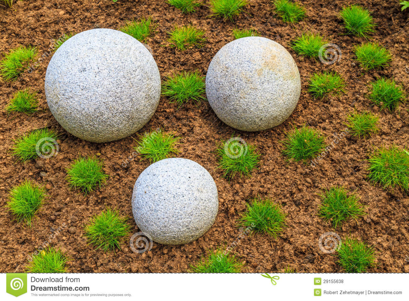 Japanese Zen Garden And Granite Stone Boulders Royalty Free Stock