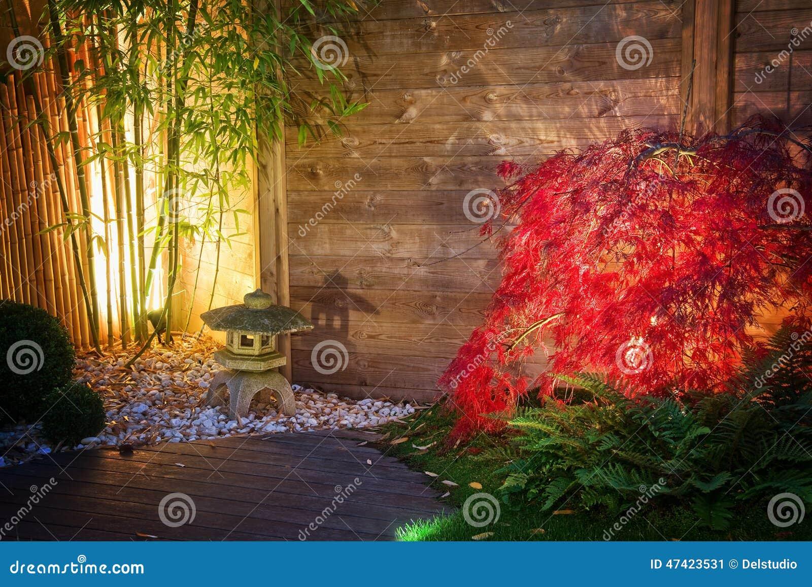 Japanese Zen Garden Lightened By Spot Lights At Night Stock Image ...