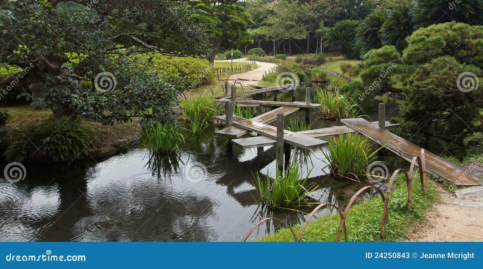 Japanese Zig Zag Bridge In Korakuan Garden Stock Image