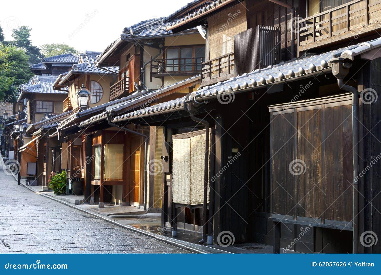 Japanische holzh user auf kyoto stra e stockfoto bild for Case in giappone