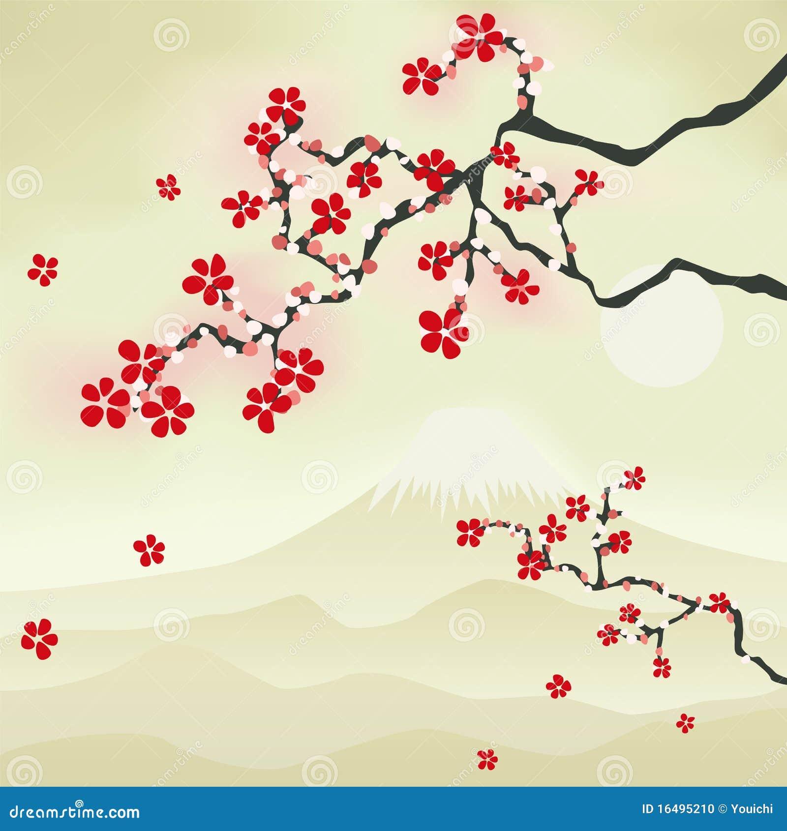 Japanische Kirschblute Vektor Abbildung Bild Von Exemplar Traditional Japanese Cherry Blossom Art