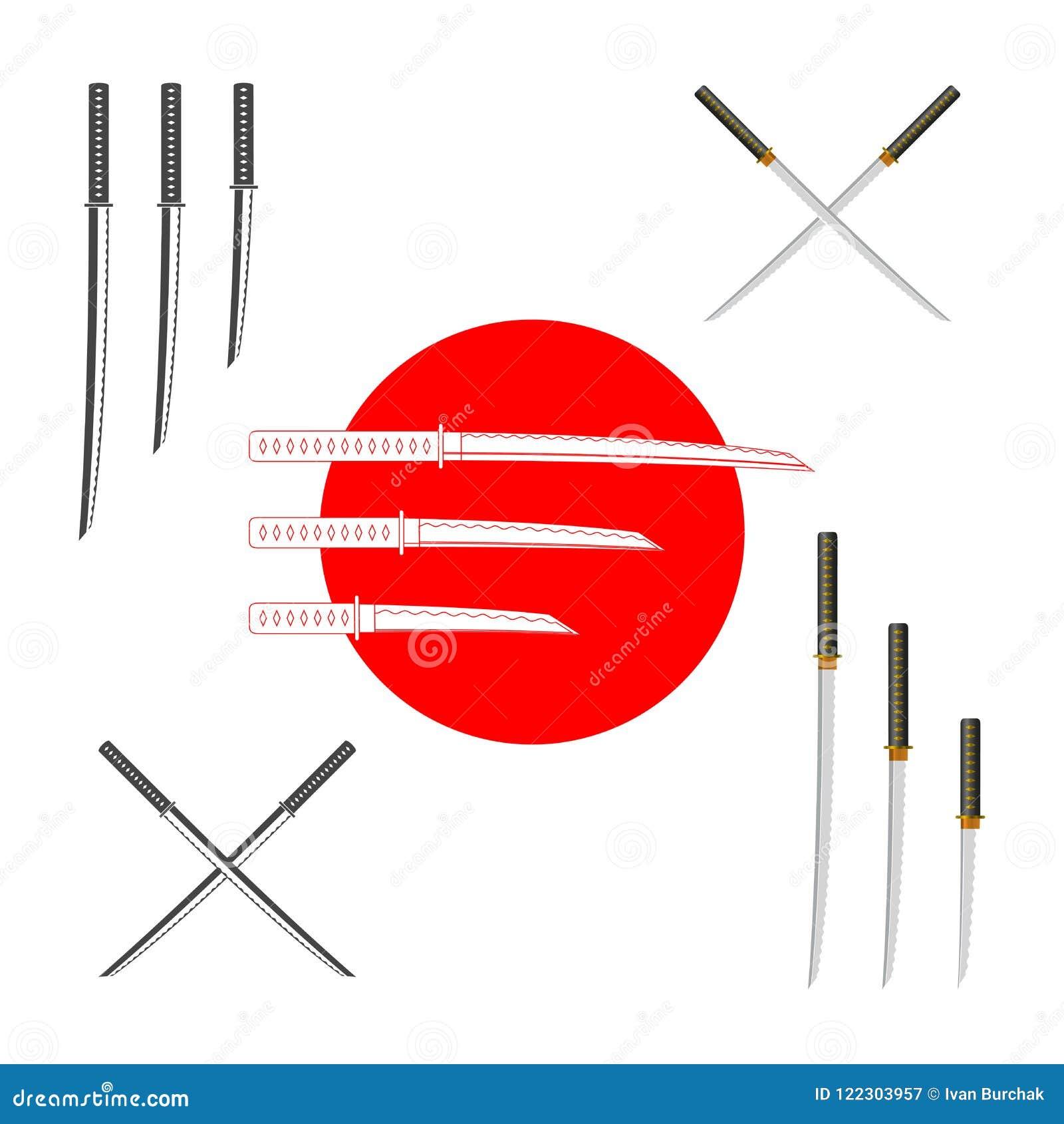 Japanische Samurai-Klingen - bunt und einfarbig Vektor-Gestaltungselement-Satz für Sie Design, Sushi-Menü