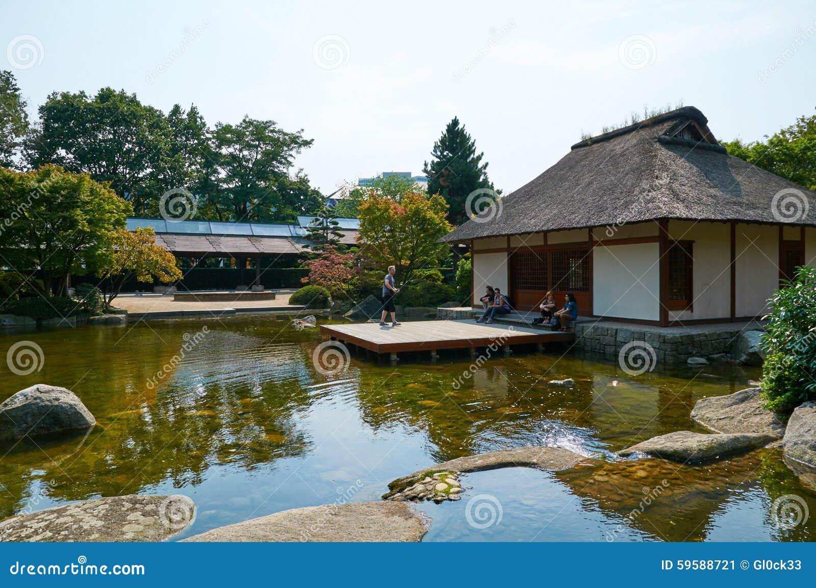 Japanischer Garten An Park Planten Uno Blomen Hamburg Redaktionelles