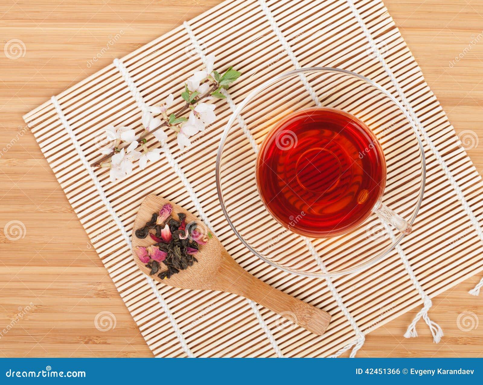 Japanischer grüner Tee und Kirschblüte-Niederlassung