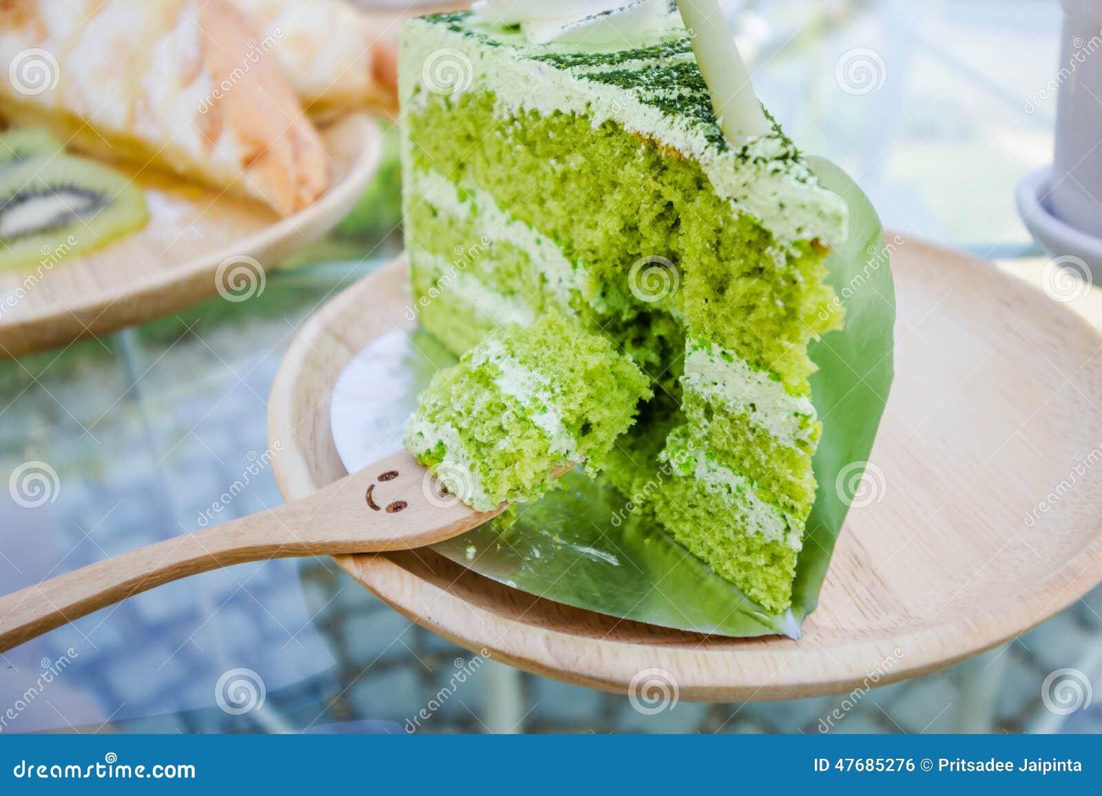 Japanischer Matcha Kuchen Des Grunen Tees Stockfoto Bild Von Sahne