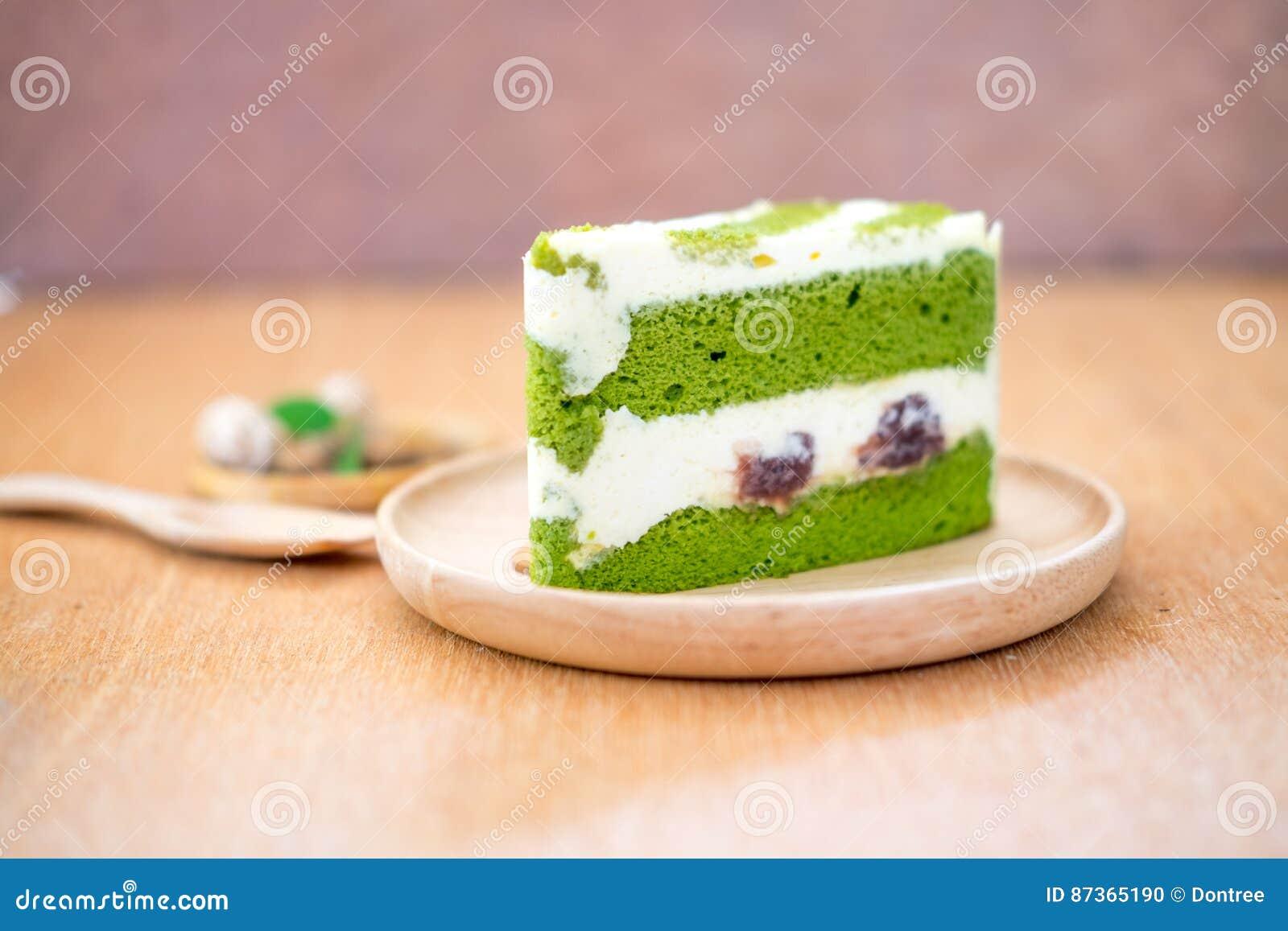 Japanischer Matcha Kuchen Des Grunen Tees Stockfoto Bild Von
