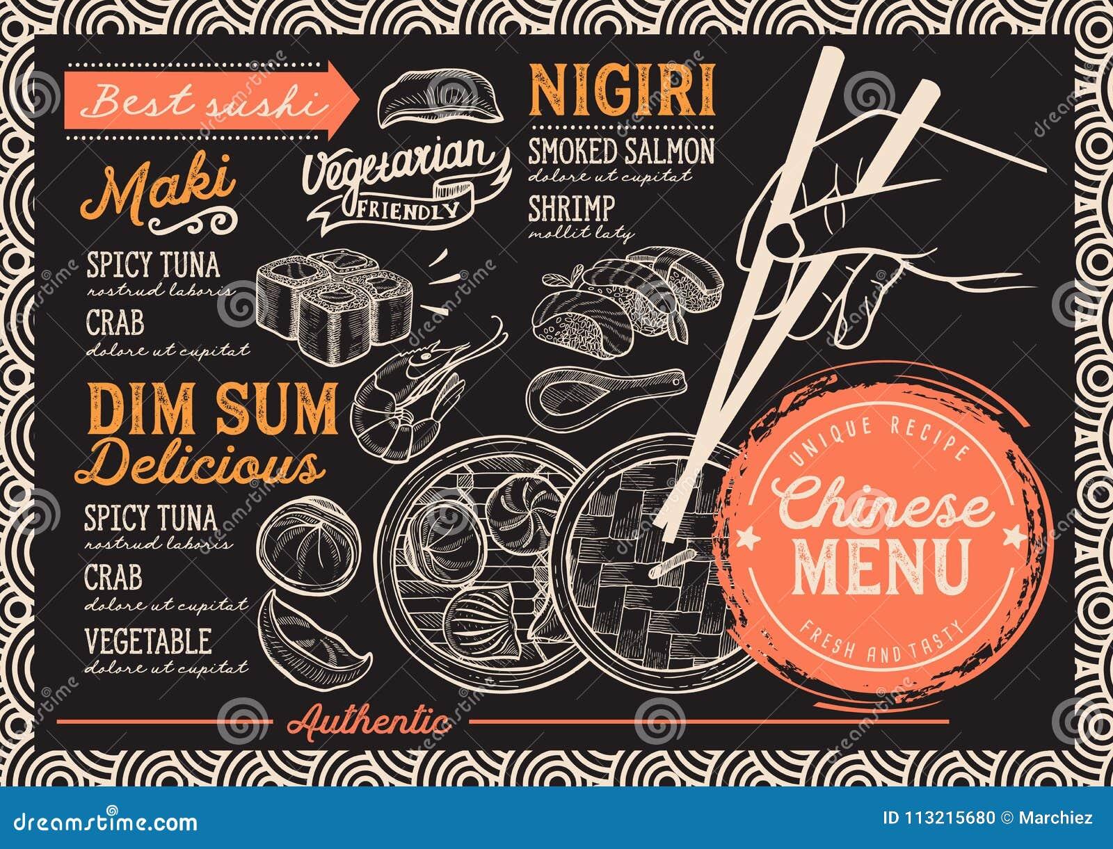 Japanisches Menürestaurant, Sushilebensmittelschablone