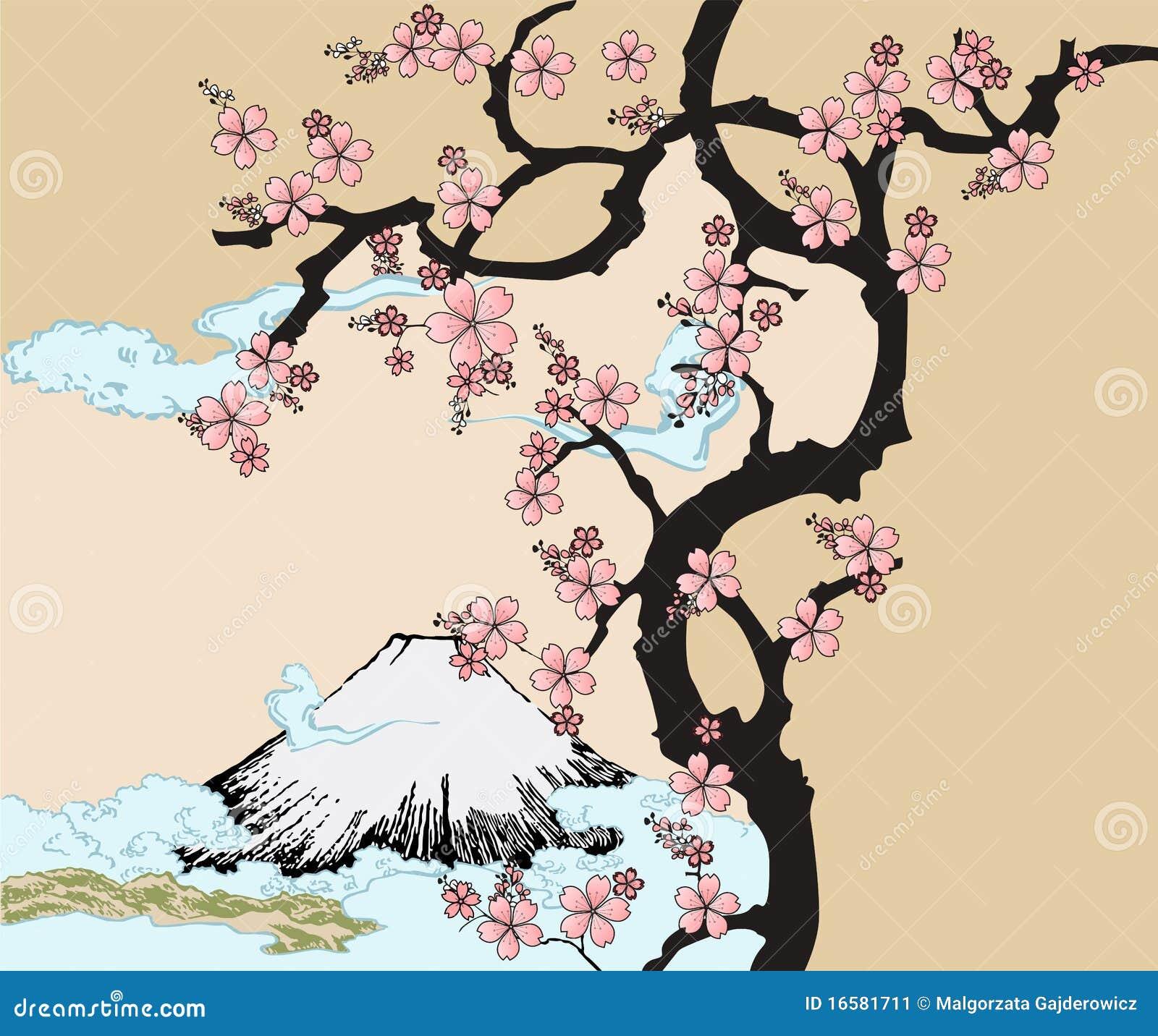 Japans ontwerp met berg Fuji en Boom Sakua.