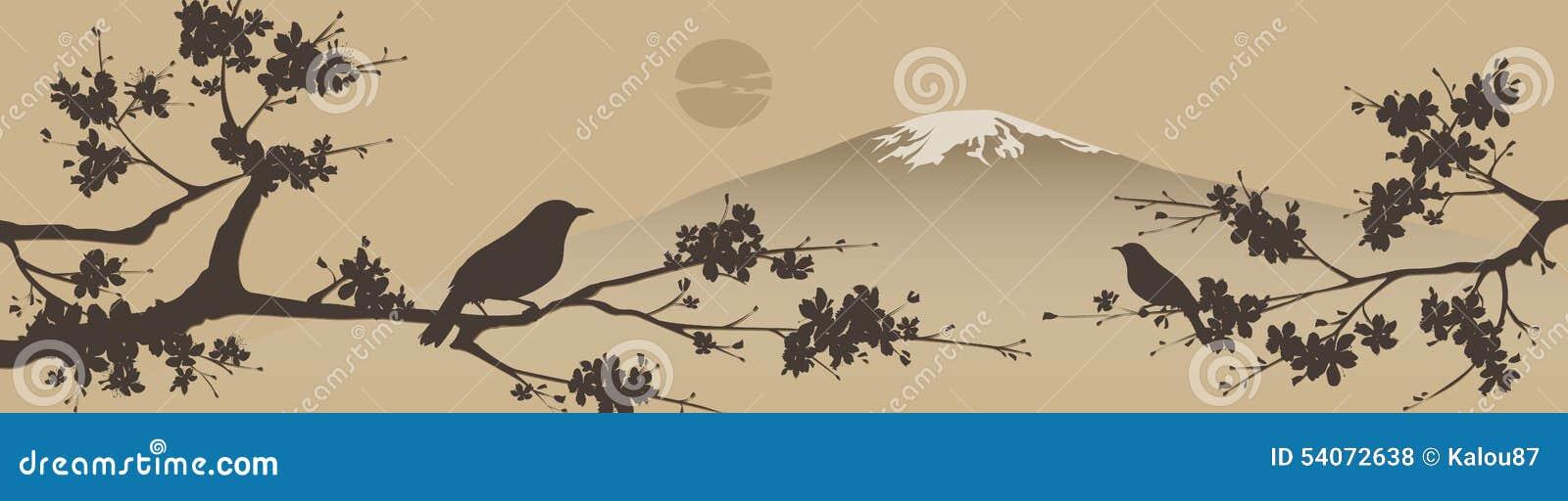 Japans ontwerp met berg fuji en boom sakua vector illustratie afbeelding 54072638 - Boom ontwerp ...