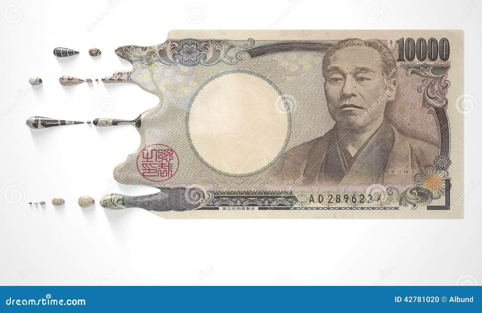 Japans Yen Melting Dripping Banknote