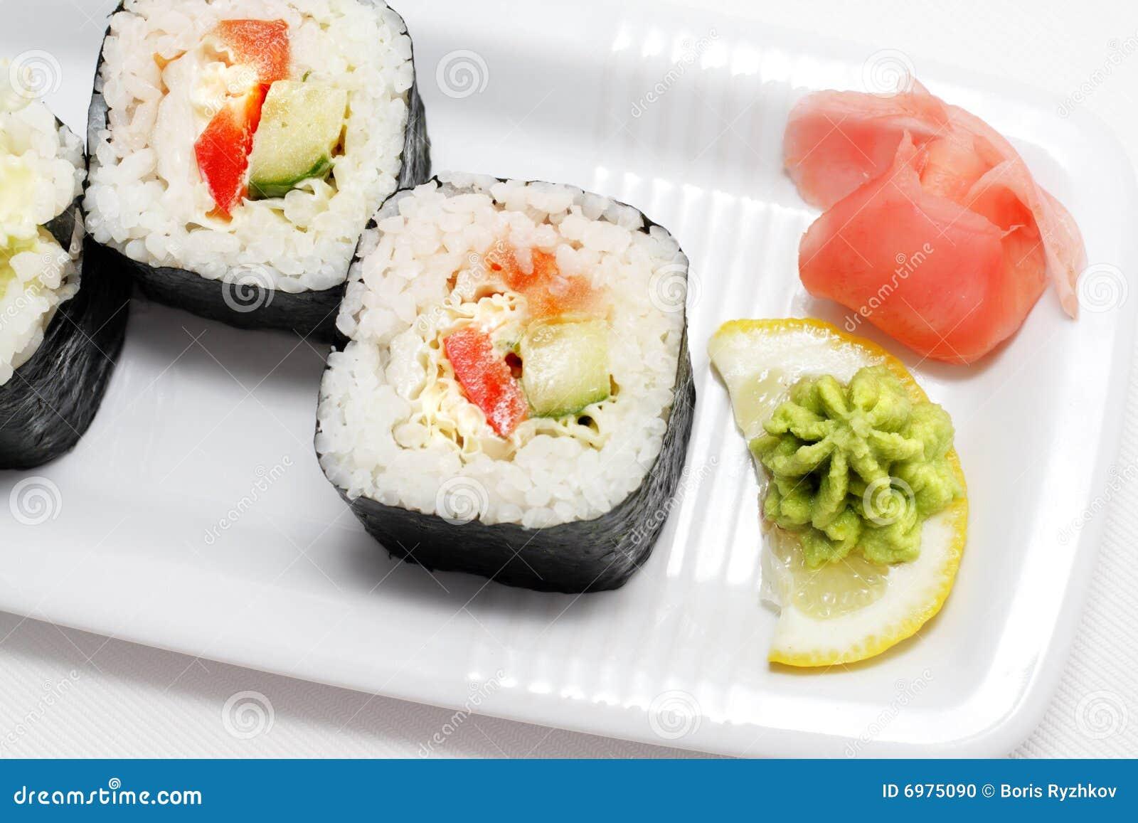 Japanse cultuur vegetarische sushi stock foto afbeelding 6975090 - Hoek maaltijd ...