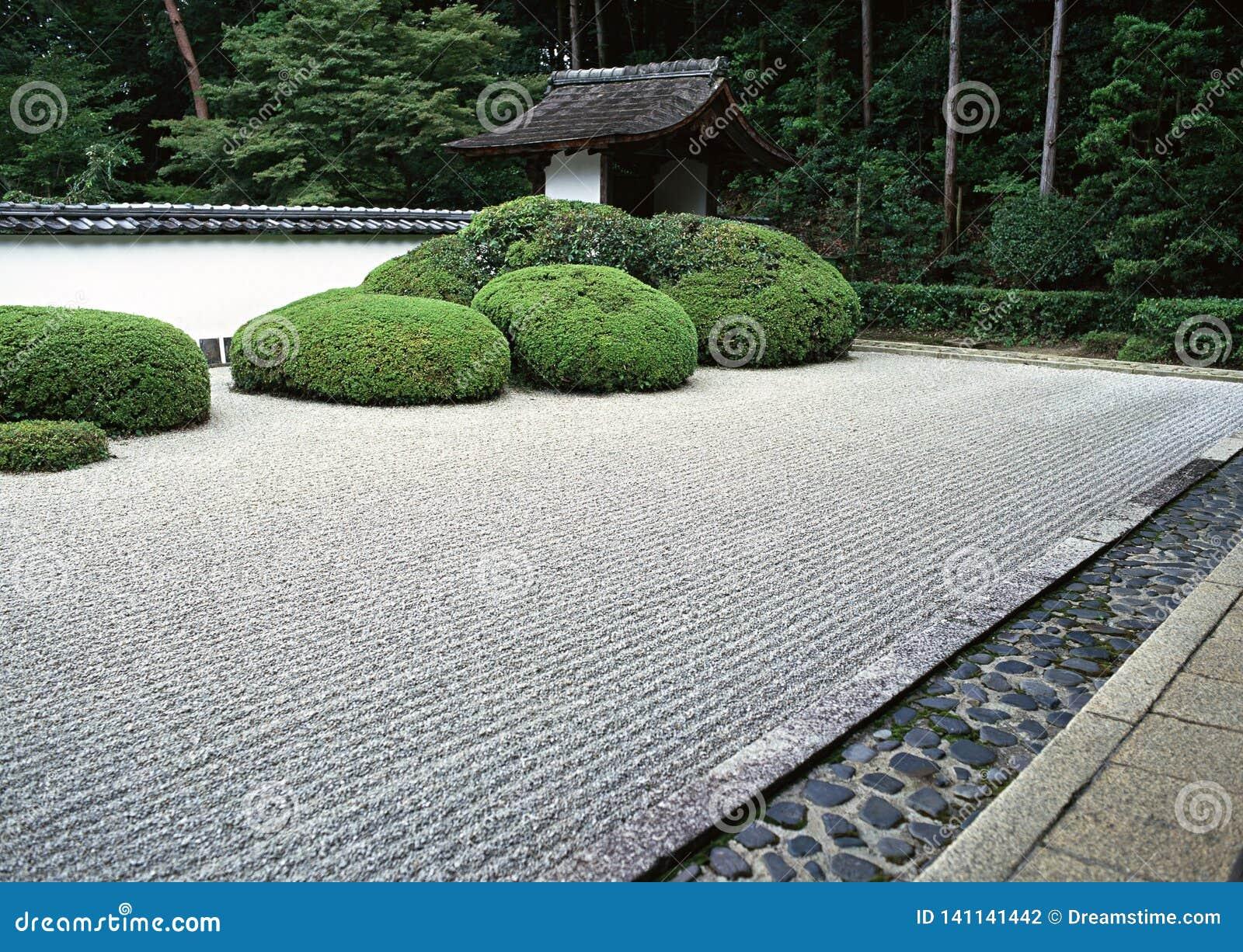 Japanse openluchttuinweg met de groene struiken en achtergrond van de steenbevloering