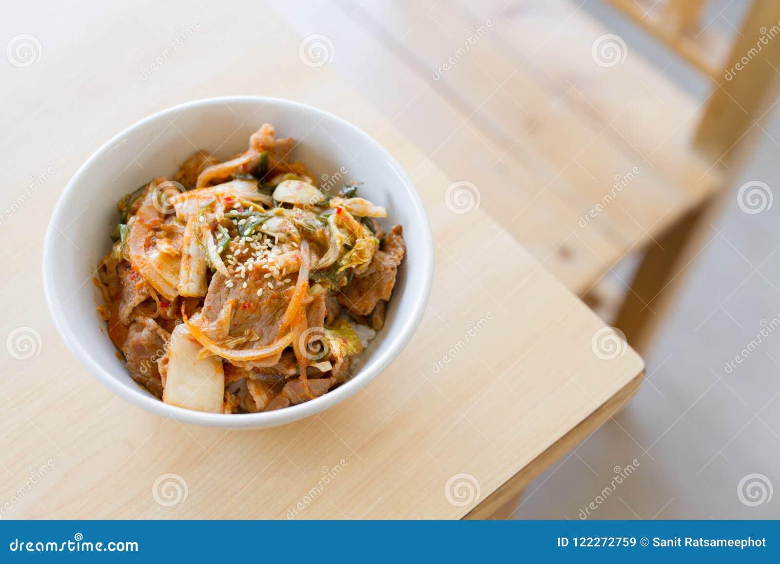 Japanse rijst met Koreaanse kimchi
