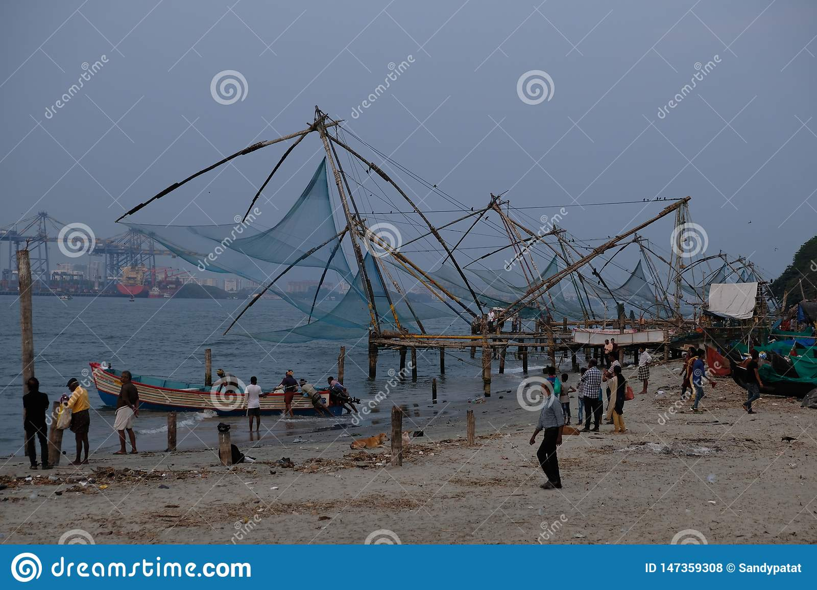Japanskt fisknät i Kochi, Kerala, Indien
