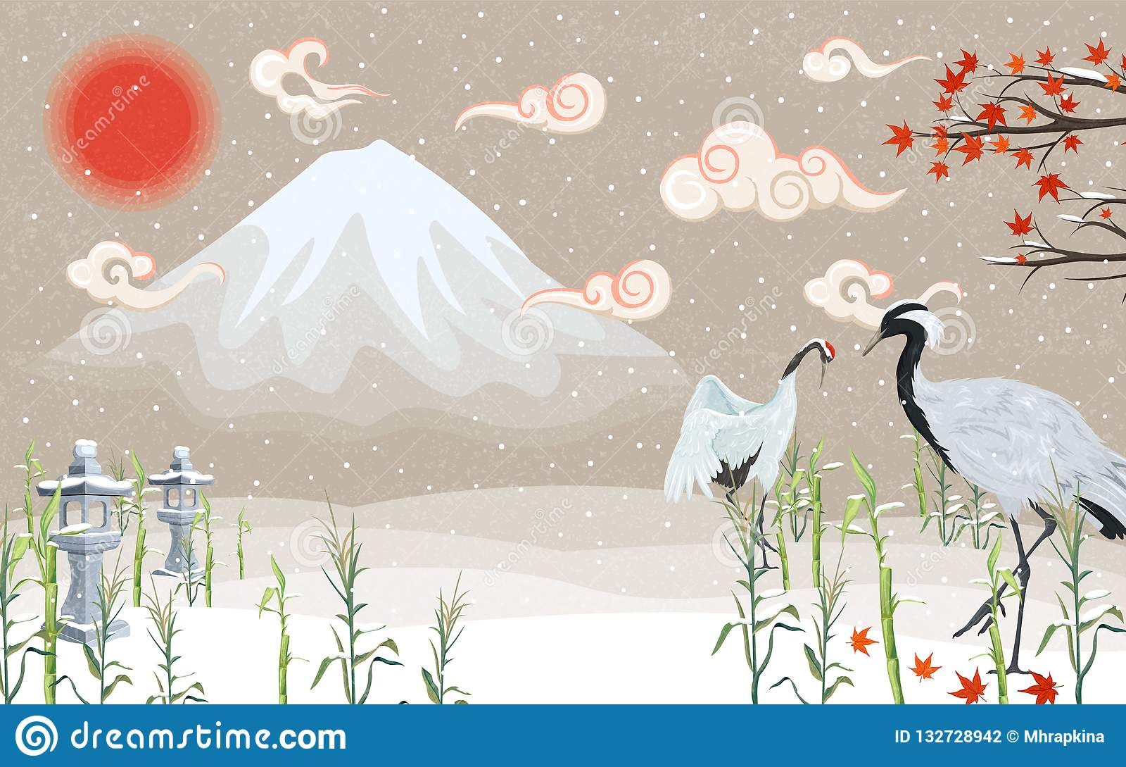 Japońscy żurawie przy zmierzchem w zimie