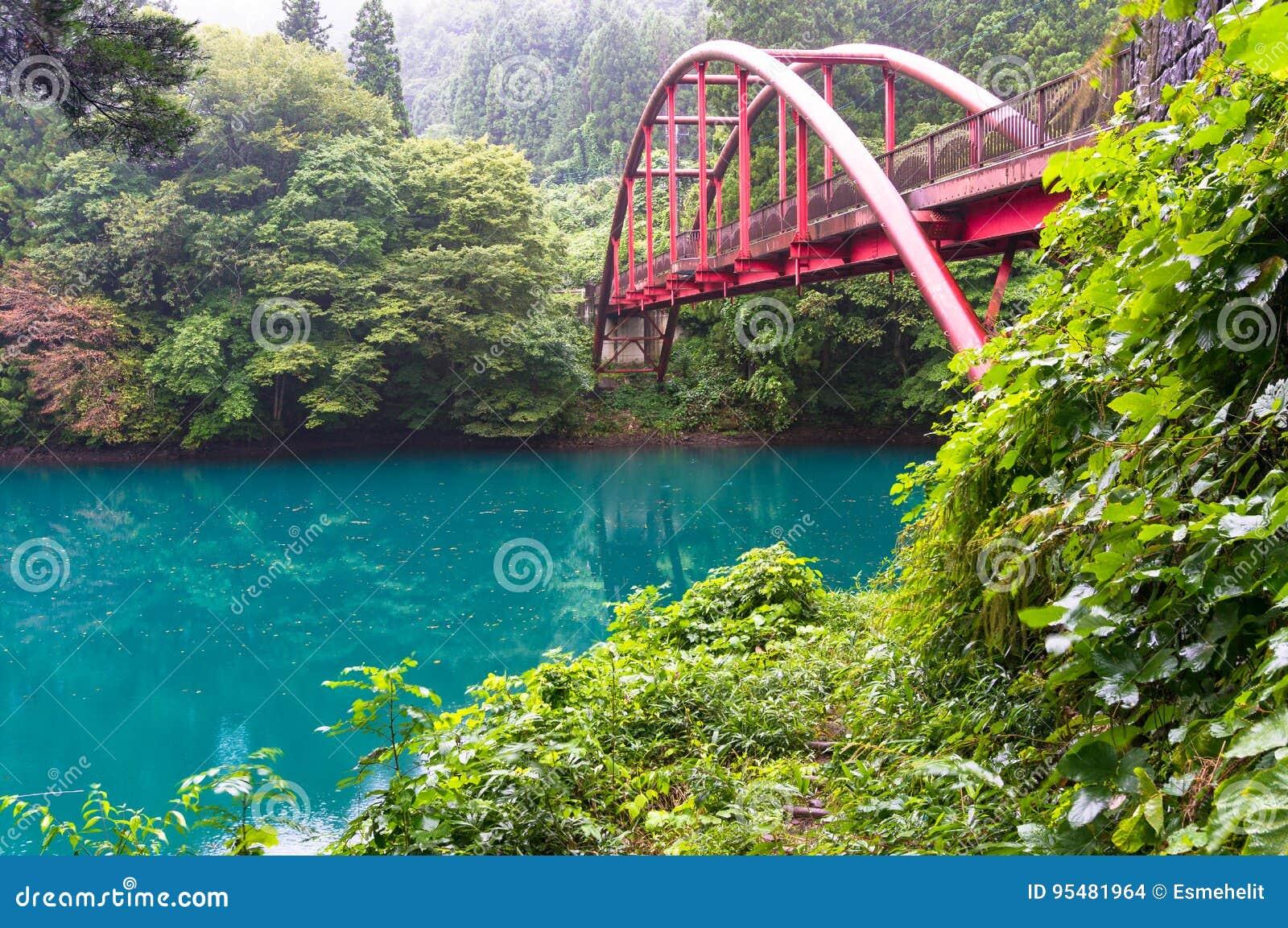 Japońska wieś z widokiem czerwień łuku most i żywy błękit