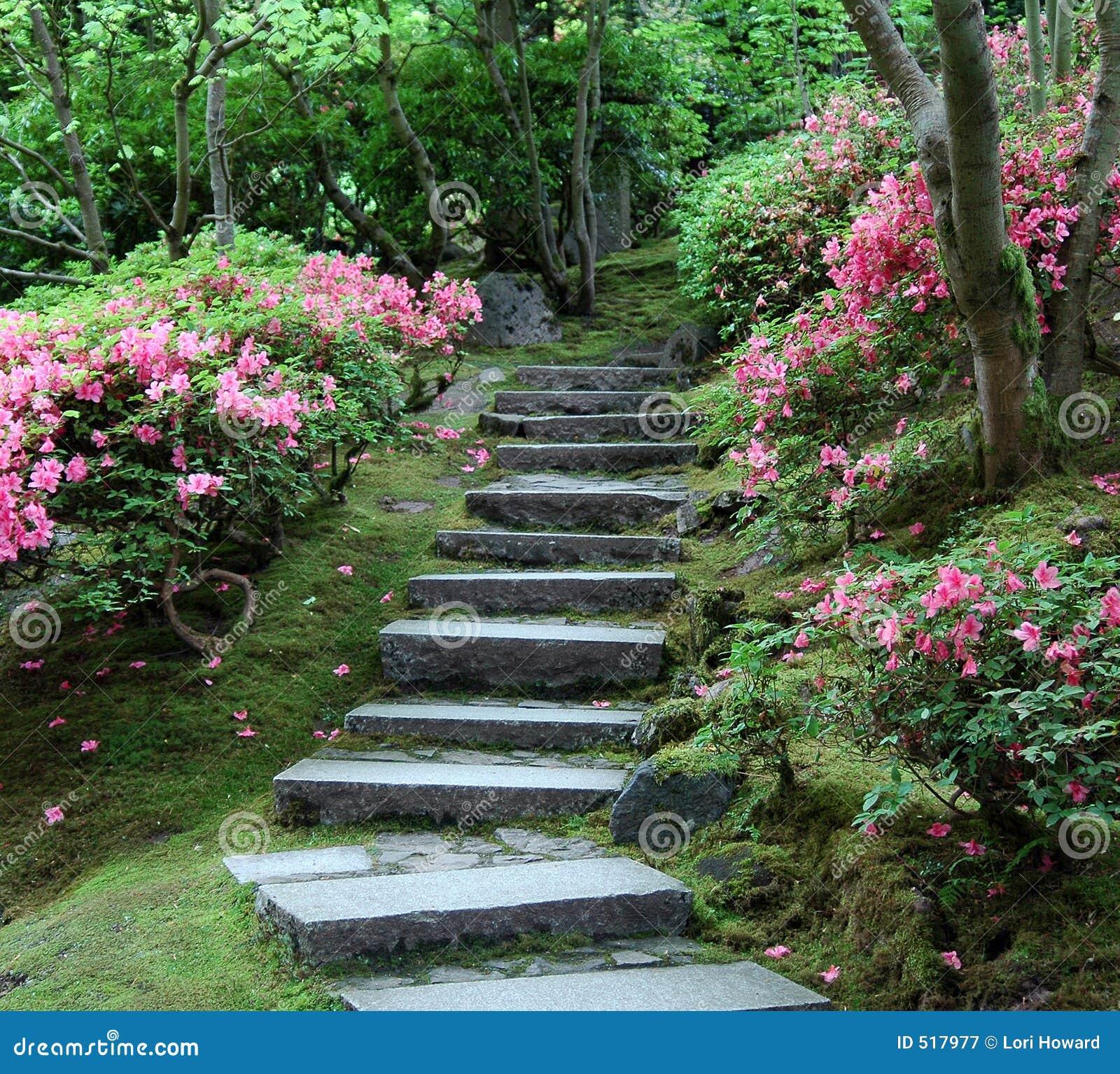 Japoński ogród schody