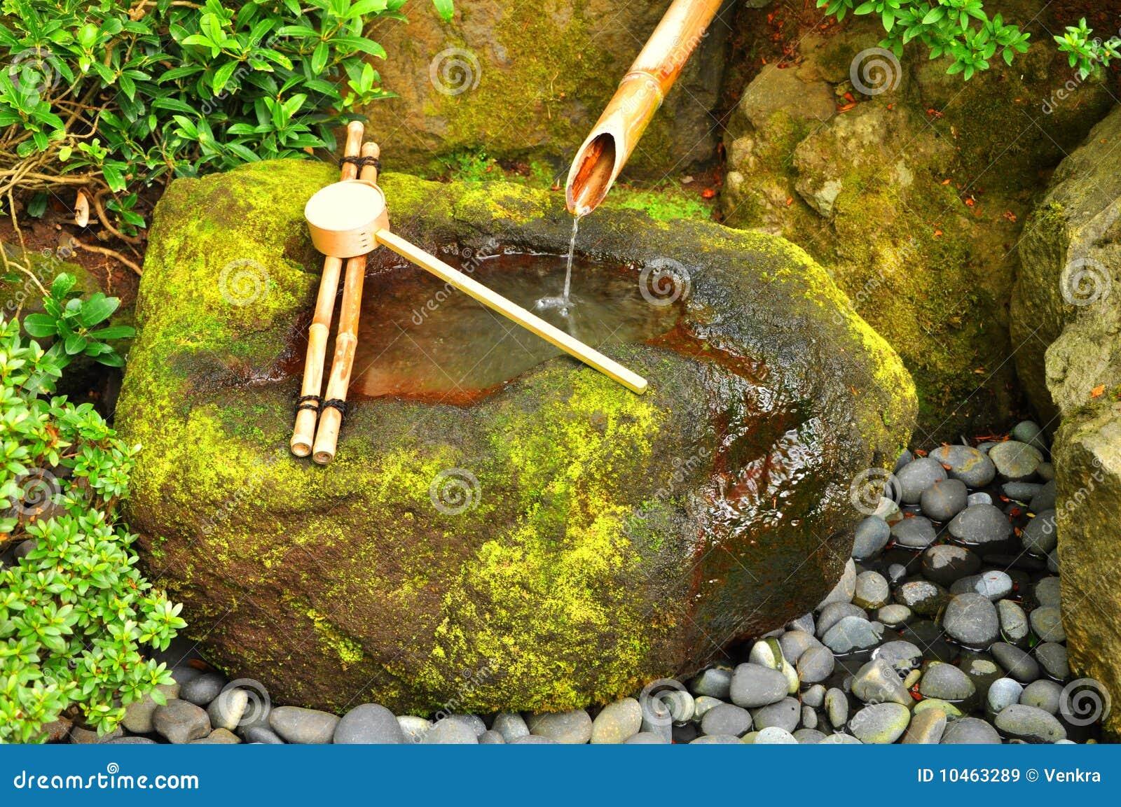 Japonais en bambou de fontaine image stock image du for Fontaine asiatique jardin