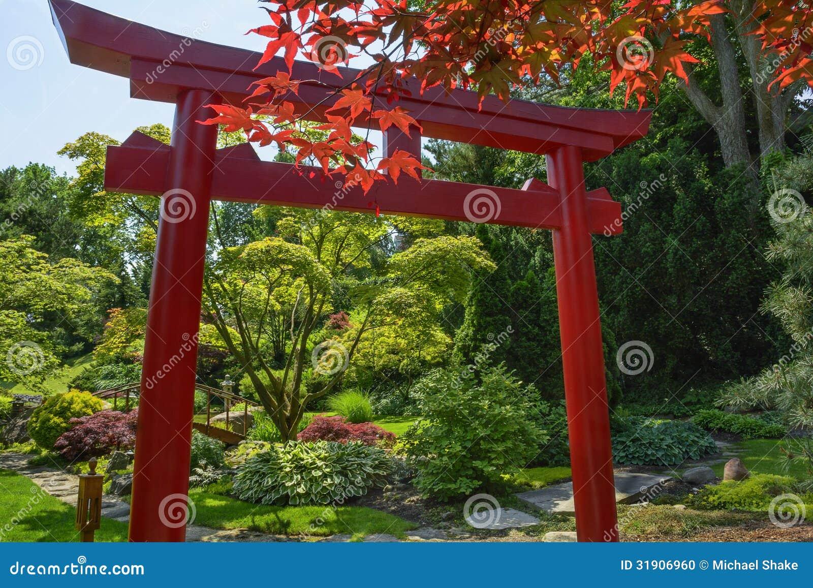 Japonais tori garden photo stock image 31906960 for Portique de jardin japonais
