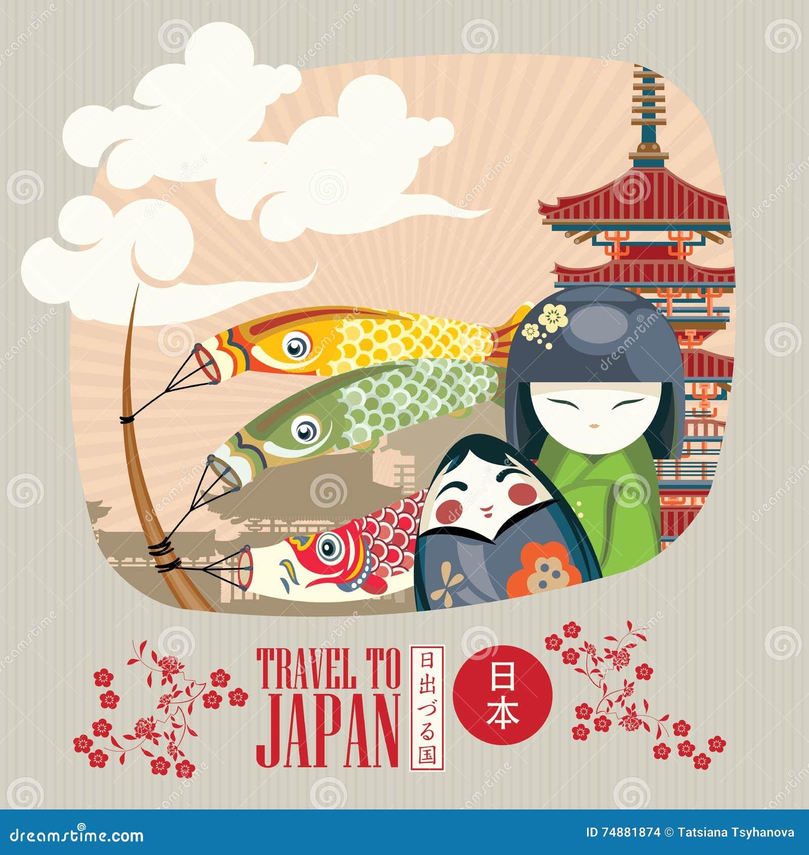 Japonia podróży plakat z azjatykcimi tradycyjnymi symbolami - podróżuje Japonia